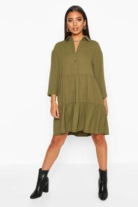 boohoo Woven Tierred Utility Shirt Smock Dress