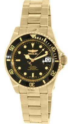 Invicta 8929OB Mens Pro Diver Automatic Blk Dial 18K Gold Plated Coin Edge Watch