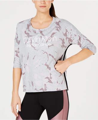Calvin Klein Printed High-Low Dolman-Sleeve T-Shirt