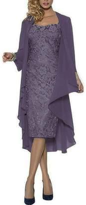 MenaliaDress Women's Short Lace Mother of Groom Dress with Chiffon Jacket M107LF US