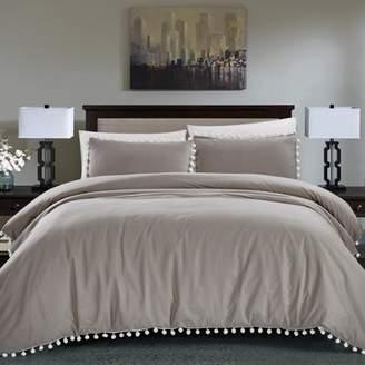 California Design Den Pom Pom Duvet Cover Set Grey Full/Queen