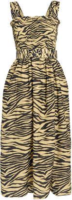 Nicholas Smocked Zebra Print Dress