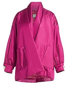 Gucci Women's Tieneck Silk Taffeta Cardigan Puffer Jacket