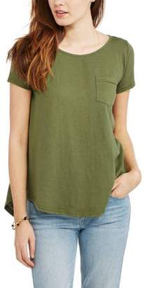 Thyme and Honey Women's Short Sleeve Pocket T-Shirt With Crochet Trim Back