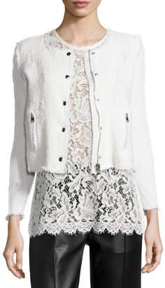 IRO Agnette Cropped Boucle Jacket, White