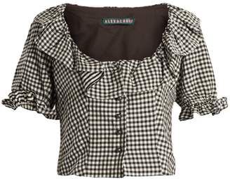 ALEXACHUNG Gingham ruffle-trimmed cropped top