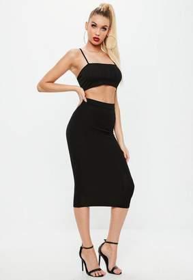 Missguided Black Jersey Longline Midi Skirt, Black