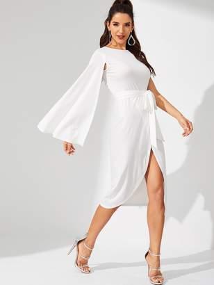 Shein Waist Belted Split Cloak Sleeve Solid Dress