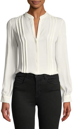 L'Agence Amalea Pintuck Silk Button-Front Blouse