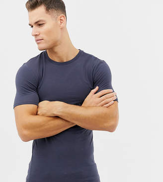 Asos Design DESIGN Tall longline muscle fit t-shirt with crew neck and stretch in grey