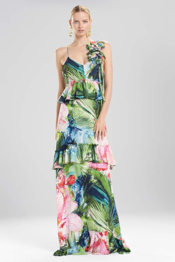 Natori Josie Sunset Palms Tiered Maxi Dress With Corsage – Shop ...