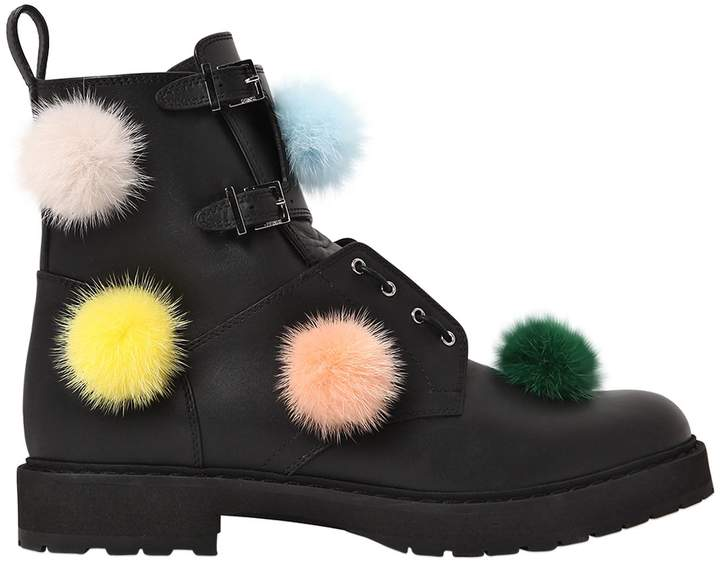 30mm Mink Pompoms & Leather Biker Boots