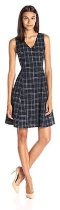 Lark & Ro Women's Sleeveless V-Neck Fit and Flare Dress
