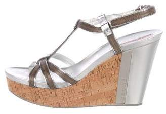 Prada Sport Leather Multi-Strap Wedge Sandals w/ Tags