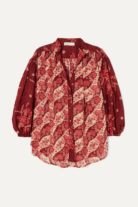 Zimmermann Eyes On Summer Oversized Printed Cotton And Silk-blend Voile Shirt - Plum