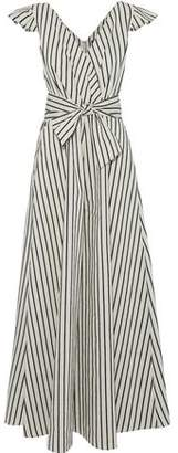 Paper London Maya Wrap-Effect Striped Twill Jumpsuit