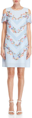 Yumi Cold Shoulder Floral Stripe Tunic Dress