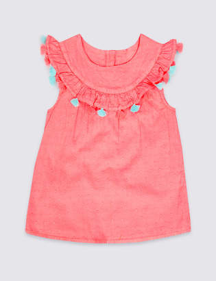 Marks and Spencer Pure Cotton Tassel Top (3 Months - 7 Years)
