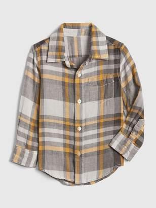 Gap Plaid Double-Weave Long Sleeve Shirt