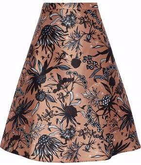 Markus Lupfer Savannah Flared Printed Satin-Twill Skirt
