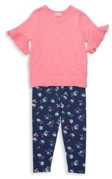 Splendid Baby Girl's& Little Girl's Two-Piece Tee& Floral-Print Leggings Set - Iced Papaya - Size 4-5