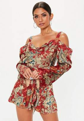 Missguided Red Floral Cowl Romper