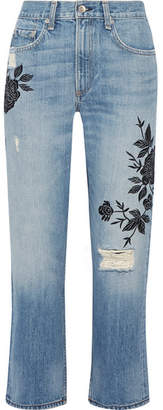 Rag & Bone Marilyn Embroidered Distressed Mid-rise Straight-leg Jeans - Blue