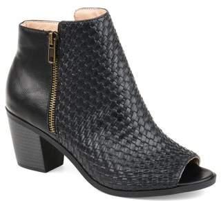 Brinley Co. Womens Comfort Woven Detail Peep Toe Bootie