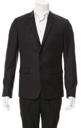 Christian Dior Leather-Trimmed Wool Blazer w/ Tags black Leather-Trimmed Wool Blazer w/ Tags