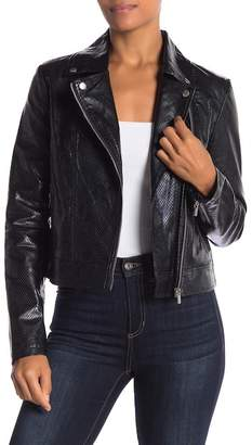 Bagatelle Faux Leather Embossed Motorcycle Jacket