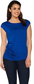 Lisa Rinna Collection Cap Sleeve Knit Top withSide Twist