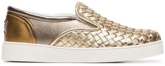Bottega Veneta gold dodger leather woven sneaker