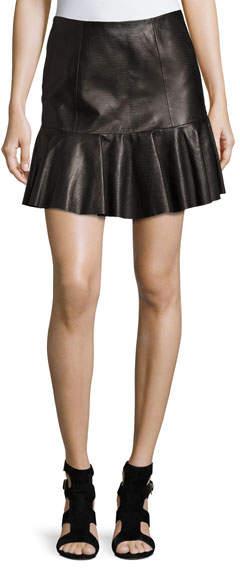 Rebecca TaylorRebecca Taylor Snakeskin-Embossed Leather Mini Skirt