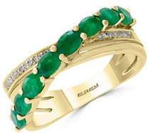 Effy 0.06 TCW Diamond, Natural Emerald and 14K Yellow Gold Ring