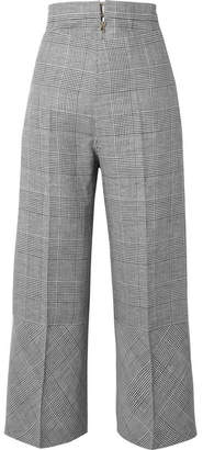 Antonio Berardi Prince Of Wales Checked Wool-blend Wide-leg Pants - Black