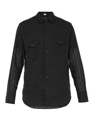 Saint Laurent Semi Sheer Striped Wool Shirt - Mens - Black