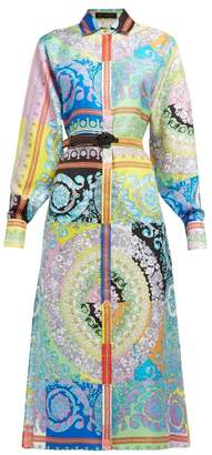 bf0b48e1000 Versace Barocco Print Silk Twill Shirtdress - Womens - Multi