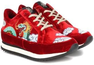Charlotte Olympia Work It Dragon velvet sneakers