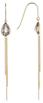Candela 18K Yellow Gold Plated Sterling Silver Bezel Set Pear Cut Amethyst & Chain Fringe Dangle Earrings