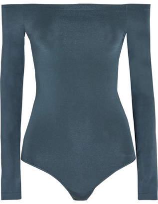 Wolford Sheen Light Off-the-shoulder Stretch-knit Bodysuit - Petrol