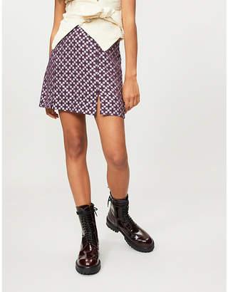 ALEXACHUNG Split-side jacquard mini skirt