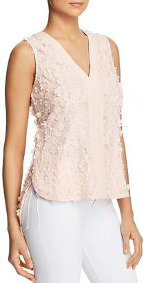Badgley Mischka Flower-Embellished Lace Top