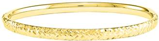 14K Gold Diamond-Cut Hinged Bangle