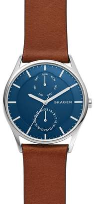 Skagen Holst Multifunction Leather Strap Watch, 40mm