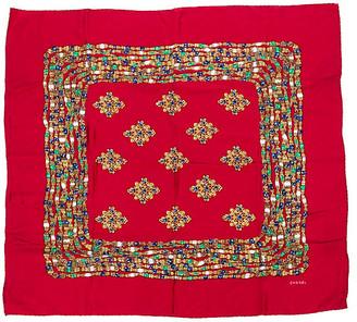 One Kings Lane Vintage Chanel Red Jewel Silk Print Scarf - Vintage Lux