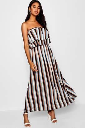 boohoo Striped Print Ruffle Bandeau Maxi Dress