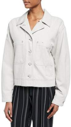 Vince Cropped Button-Front Utility Jacket