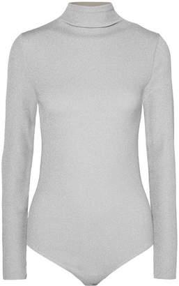 Wolford Joan Metallic Ribbed-knit Turtleneck Bodysuit - Silver