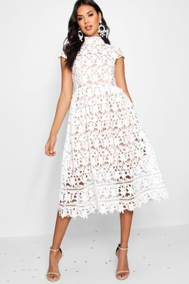 boohoo Boutique Lace High Neck Skater Dress