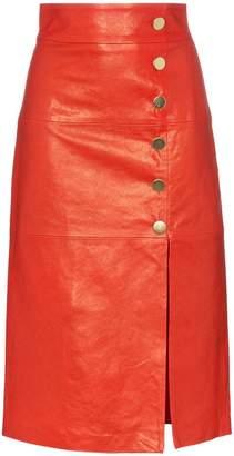 Skiim Lucy button down leather midi skirt